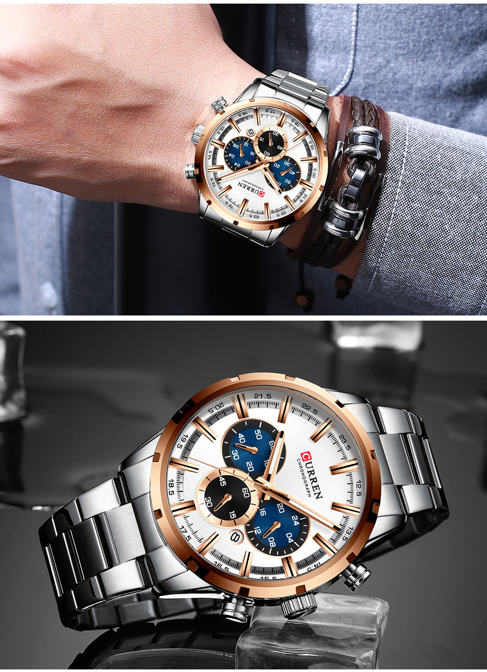 H87637ad637144c08838a727a6682f87aV CURREN Men Watch Top Brand Luxury Sports Quartz Mens Watches Full Steel Waterproof Chronograph Wristwatch Men Relogio Masculino