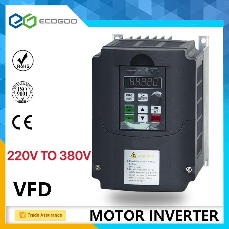 VFD инвертор, преобразователь частоты, 4K-11 кВт, однофазный, от 220 В до трех, 380 В, переменная фотоскорость двигателя, ШИМ