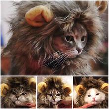 Engraçado bonito animal de estimação gato traje leão mane peruca chapéu para gato cão dia das bruxas roupas de natal fantasia vestido com orelhas roupas para animais de estimação