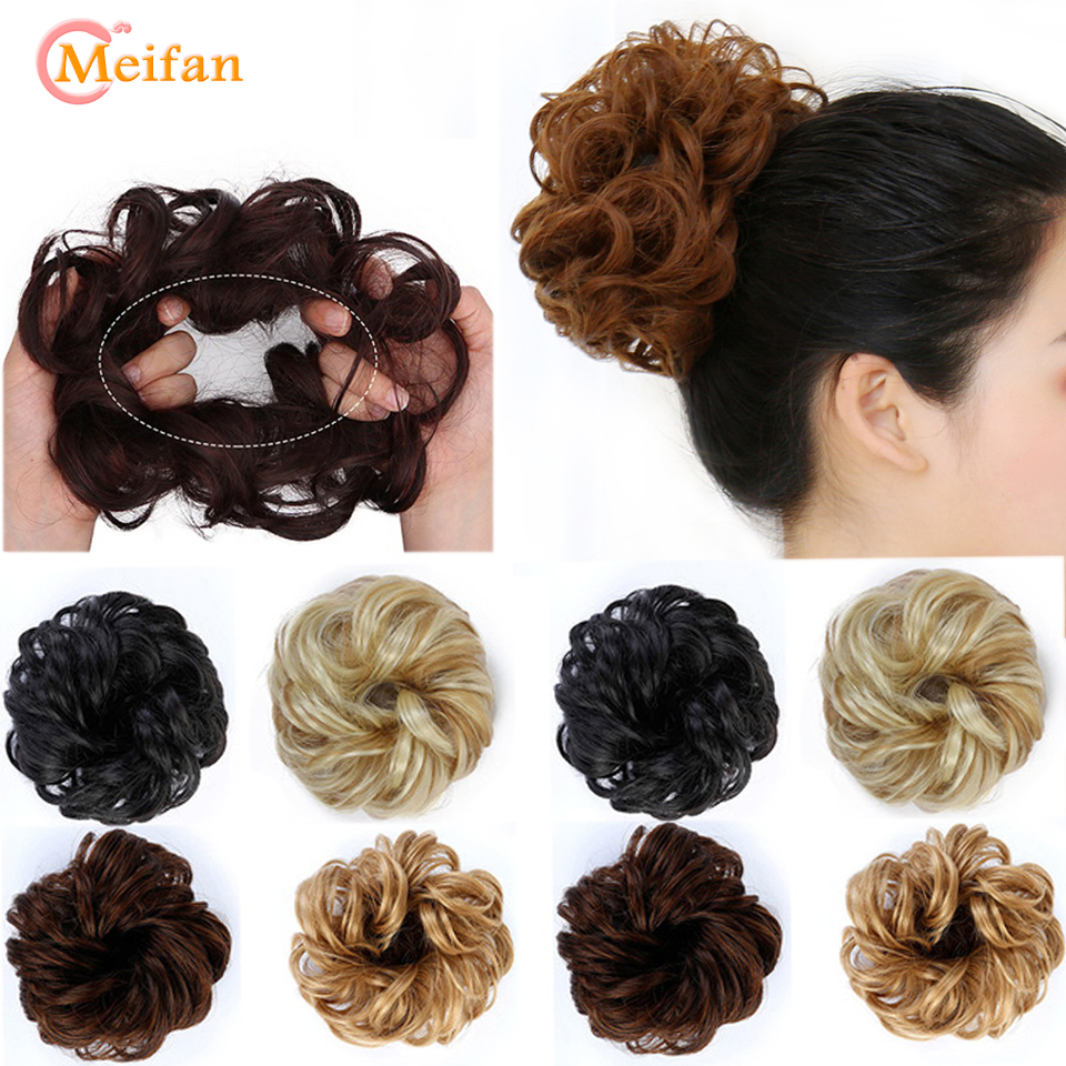 MEIFAN Synthetic Hair Buns Curly Scrunchy Chignon Elastic Messy Wavy Scrunchy Wrap For Ponytail Extension For Women