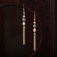 Long Tassel Pearl Drop Earrings Ear Accessories Chinese Cloisonne Enamel Eardrop Women Vintage Ethnic style Ear Clip Dangles