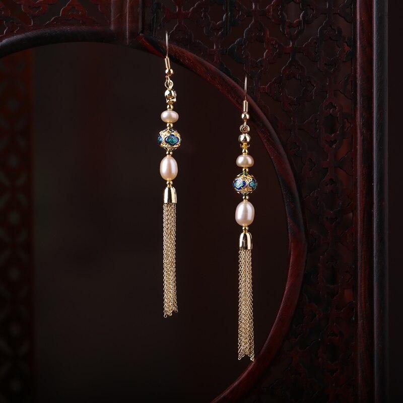 Longues boucles d'oreilles en perles à pompon accessoires pour oreilles boucles d'oreilles en émail cloisonné chinois boucles d'oreilles Vintage style ethnique