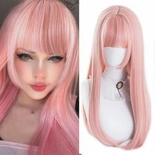 HOUYAN-Peluca de pelo largo liso para Cosplay, pelo liso de chica rosa, peluca sintética de fibra sintética resistente al calor