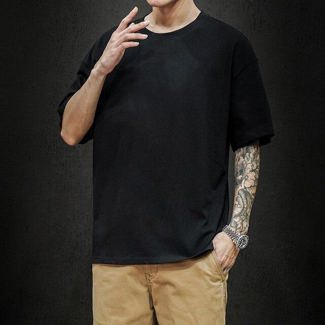 New Summer Men's T Shirt 2021 Fashion Solid T Shirt Mens Oversized Hip Hop Short Sleeve Casual Cotton Mens Streetwear Top Tees 3