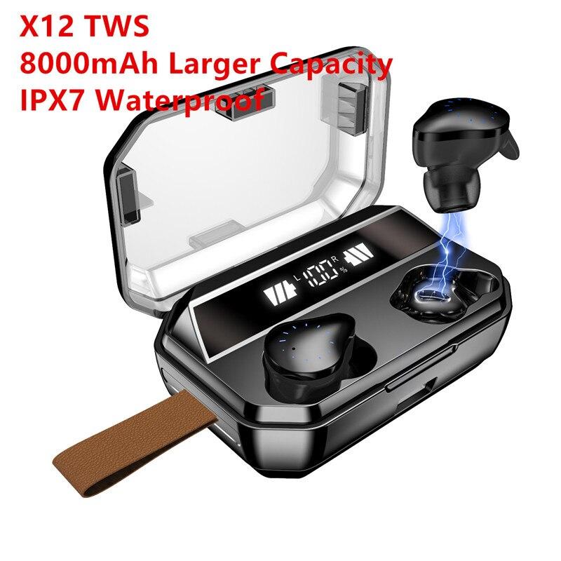 Aliexpress nieuwe collectie 2019 Draadloze Bluetooth Hoofdtelefoon 8000mAh LED Display Stereo Sport Waterdichte Oordopjes Met Microfoon
