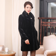 New 2020 Winter Dress Leather And Fur Will Code Girls Long Mink Down Loose Coat Mink Overcoat Solid Color Mink Cashmere(China)