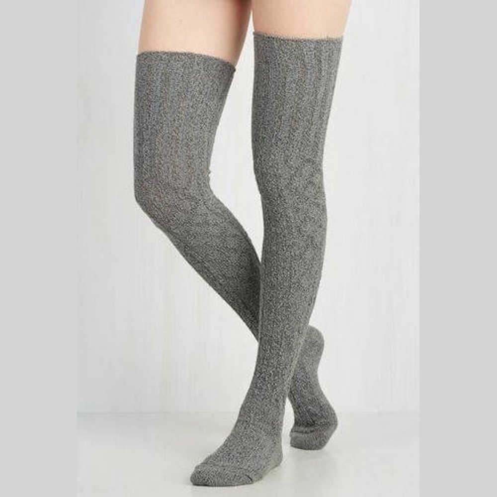 Meihuida ผู้หญิงมากกว่าเข่านุ่มสบายเซ็กซี่ถุงน่องยาว Boot ถักต้นขาสูงสีเทาสีกากีสีดำ
