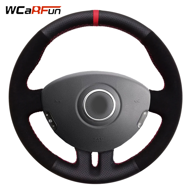 WCaRFun Black   Leather   Black   suede   Red Marker Car Steering Wheel Cover for Renault Clio 3 2005-2013 Clio 3 RS 2005-2013
