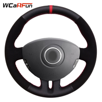 WCaRFun Black Leather Black suede Red Marker Car Steering Wheel Cover for Renault Clio 3 2005 2013 Clio 3 RS 2005 2013