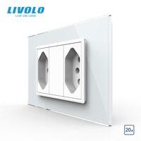 Livolo Brasiliano/Italiano Standard 2gangs 3 Spilli 20A Presa, pannello di Vetro Spina Brasiliano, C9C2CBR2-11/12
