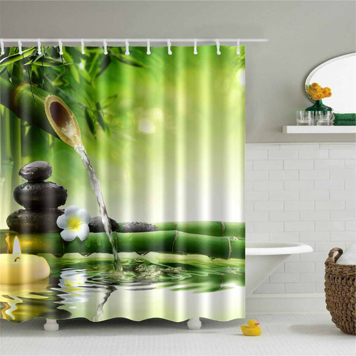 180x180cm Bamboo Flowers Printed 3d Bath Curtains Waterproof Polyester Fabric Washable Bathroom Shower Curtain Screen With Hooks