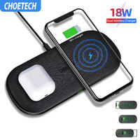 CHOETECH 18W Qi Dual Wireless Charger 5 Coils for iPhone 11 X XS Max 8 XR Fast Charging Pad for Samsung S10 S8 S9 New AirPods 2