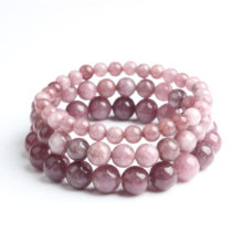 Fashion Jewellery 6/8/10MM Violet Mica Bracelet Suits Charming Amulets for Men and Women to Increase Crystal Energy(China)