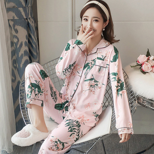 2019 New Japanese Simple Long Sleeve Pyjamas Women Cotton Pajama Sets Ladies Cute Cartoon Sleepwear Winter Women's Homewear Pija