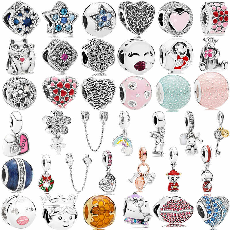 Silver 925 Boy Girl Mickey Unicorn Charms Beads Pendant Fit Pandora Bracelets & Necklace For Women DIY Lovers Jeweley