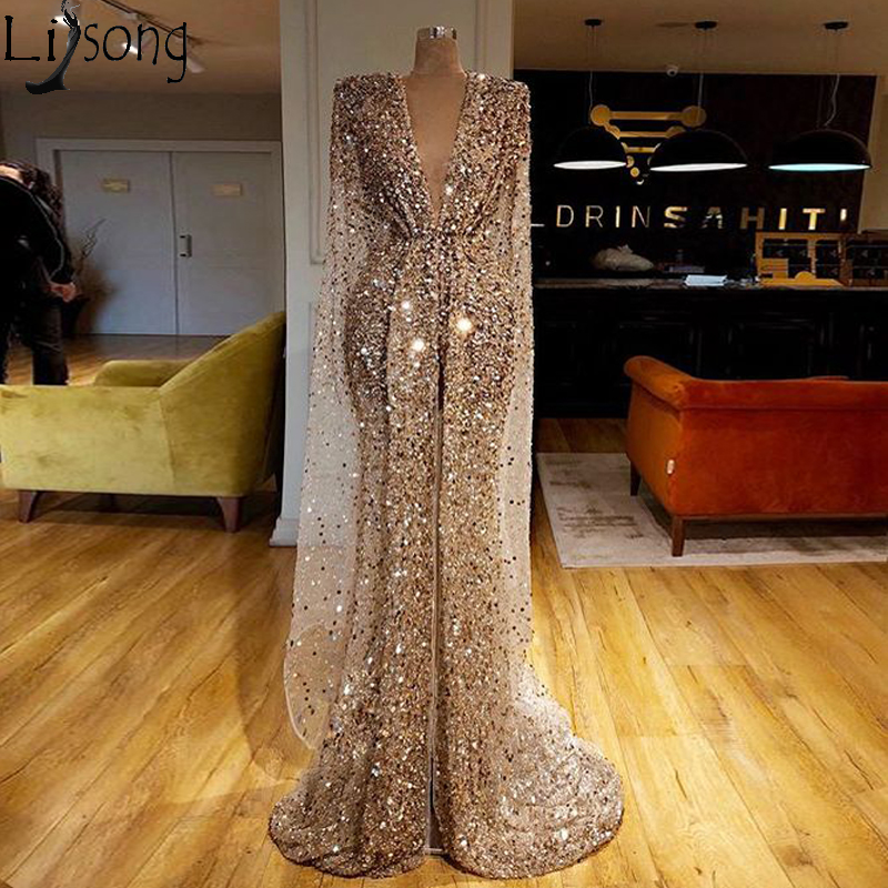Sparkly Sequins Mermaid Prom Dress 2020 Couture V Neck High Split Chic Evening Dress Turkey Arabic Shiny Pageant Formal Gowns
