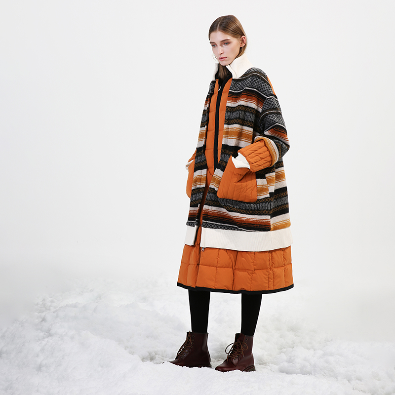 Original Deisgn 2019 Winter Women Womens Puffer Coat Ladies Casual Oversized Long Striped Wool Patchwork White Duck Down Jacket