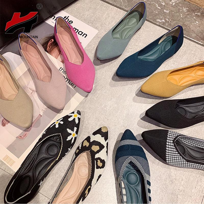 NAN JIU MOUNTAIN 2021 Women's Shoes Autumn Single Shoes Fashion Knitted Pointed Shoes Flat Bottom Comfortable Plus Size 43