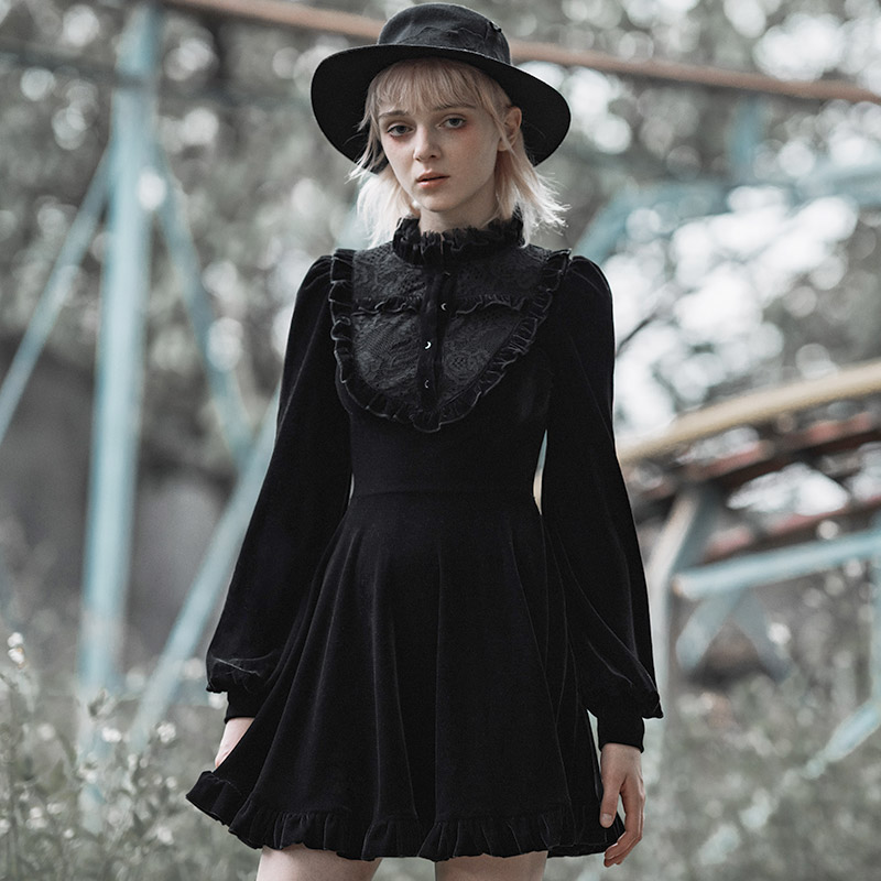 PUNK RAVE Girls Steampunk Retro Long Sleeve Dress New Gothic Romanric Lantern Sleeve Velvet Party Dress