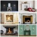 Laeacco Chic Wand Kamin Vintage Haus Innen Dekor Fotografie Kulissen Foto Hintergründe Weihnachten Photo Foto Schießen