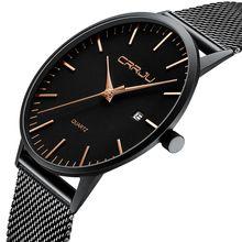 CRRJU męskie szczupłe zegarki luksusowe Ultra cienki zegarek kwarcowy mężczyźni swobodna siateczka ze stali wodoodporny zegarek sportowy czarny Relogio Masculino tanie tanio 24cm Moda casual QUARTZ 3Bar Klamra CN (pochodzenie) Ze stopu Hardlex Kwarcowe Zegarki Na Rękę Nie pakiet STAINLESS STEEL