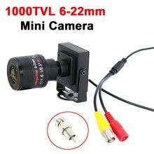 Lente Varifocal 1000TVL/700TVL 6 22mm, Mini cámara de Metal, lente ajustable Manual con adaptador RCA, cámara CCTV, cámara de superposición de coche