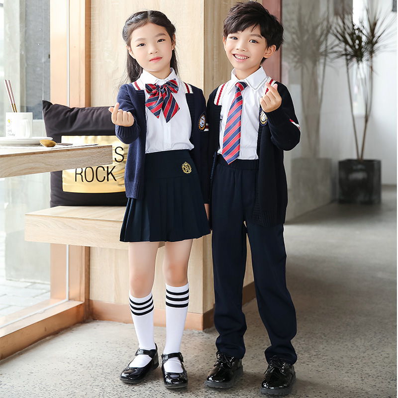 [Ann Fruit] Young STUDENT'S Business Attire Spring And Autumn Sweater Cardigan Suit British Style Kindergarten School Uniform Cu