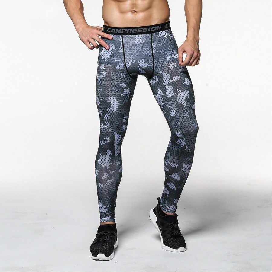 Камуфляж 3D компрессионные брюки Для мужчин бег лосины, штаны для бега спортивные обтягивающие леггинсы для занятий в тренажерном зале Фитнес длинные брюки; спортивные брюки