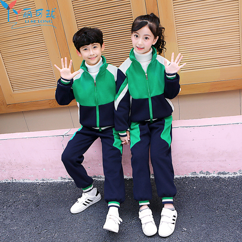 School Uniform Winter Style Cotton Thick Sports Set Kindergarten Suit Fall And Winter Clothes Primary School STUDENT'S Men And W