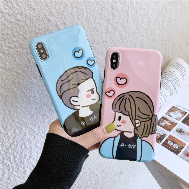 JAMULAR Cute Cartoon Boy and Girl Couple Cases Cover For iPhone XR XS MAX X 7 8 6 6s Plus Soft IMD Love Heart Phone Coque Fundas