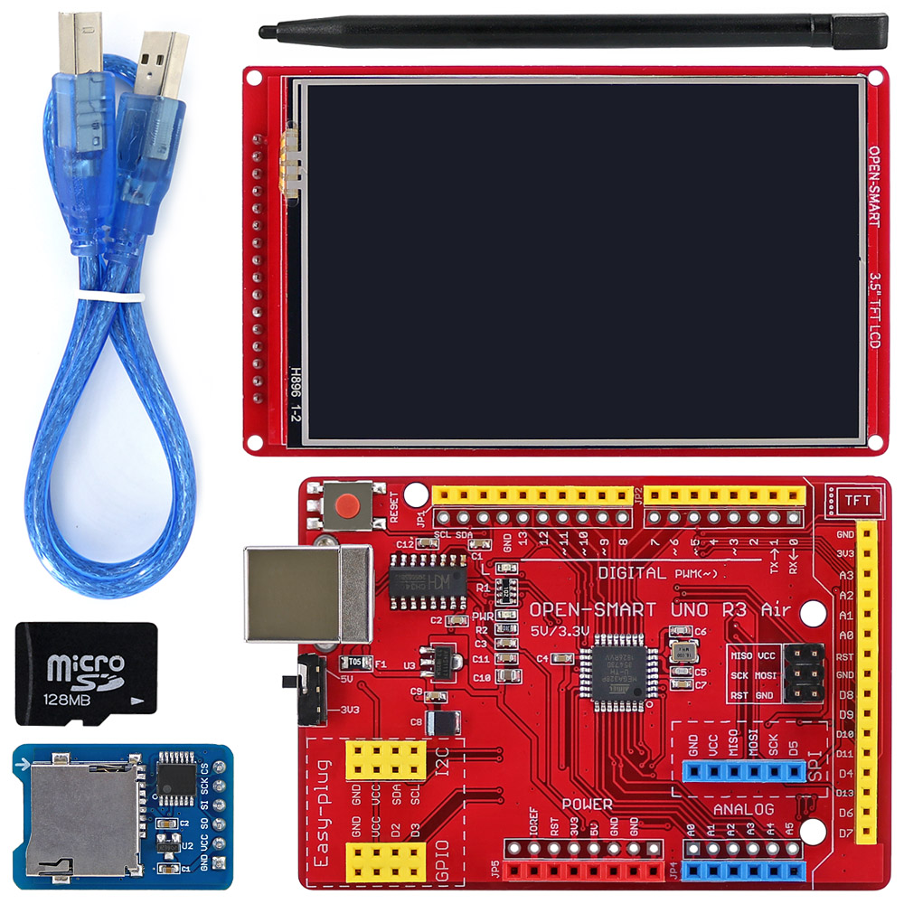 OPEN-SMART 3.5 Inch 480*320 TFT LCD Touch Screen Breakout Module Kit With Easy-plug UNO R3 Air Board For Arduino UNO R3 / Nano