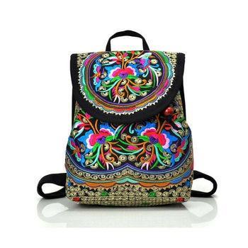 Women Vintage ethnic style Backpack Fashion Embroidery Flower Backpack Travel Shoulder Bag Rucksack Bohemian Handbag фото