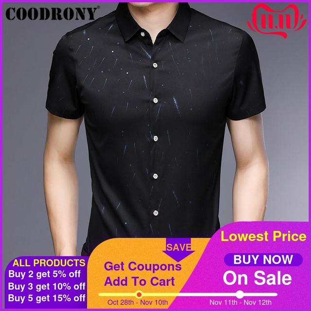 COODRONY Short Sleeve Men Shirt 2019 Summer Cool Shirt Men Business Casual Shirts Male Fashion Star Pattern Chemise Homme S96034