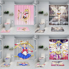 Japanese Anime Bathroom Set Sailor Moon 3D Waterproof Shower Curtain Toilet Cover Mat Non Slip Rug With 12 Hooks