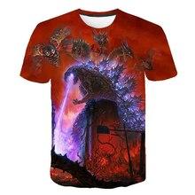 Summer Fashion 2019 Childrens T-shirt Cartoon Japanese Godzilla Prints Boys T Shirt 3D Movie Kids Clothes Monster King