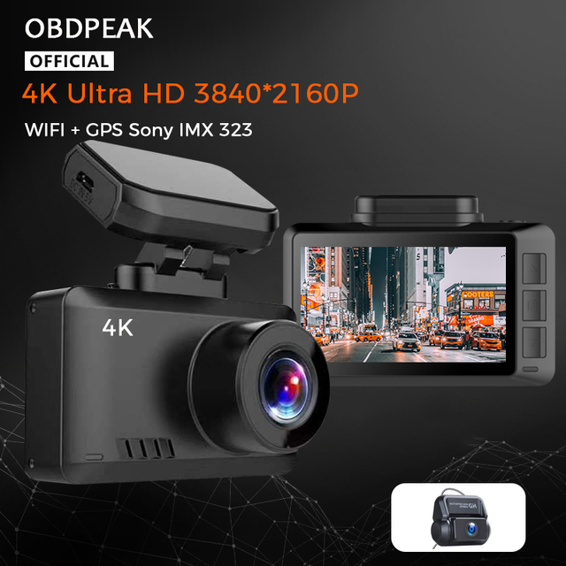 4K WIFI Dash Cam GPS Track Car DVR 3840*2160P 30FPS Ultra HDSuper Night Vision Camera Video Recorder Auto Phone Connection 1