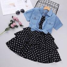 Джинсовый топ и платье на бретелях для девочек Модный комплект
