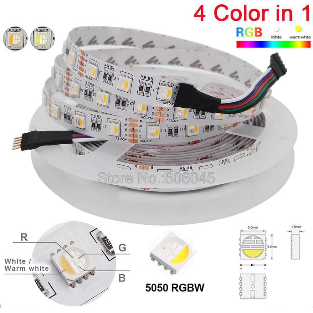 12 В 24 В SMD5050 RGBW RGBWW Светодиодная лента RGB белый RGB теплый белый, 4 цвета в 1 светодиодный чип, 60 Светодиодный/M IP20 IP65 IP67 водонепроницаемая лента со светодиодными лампами