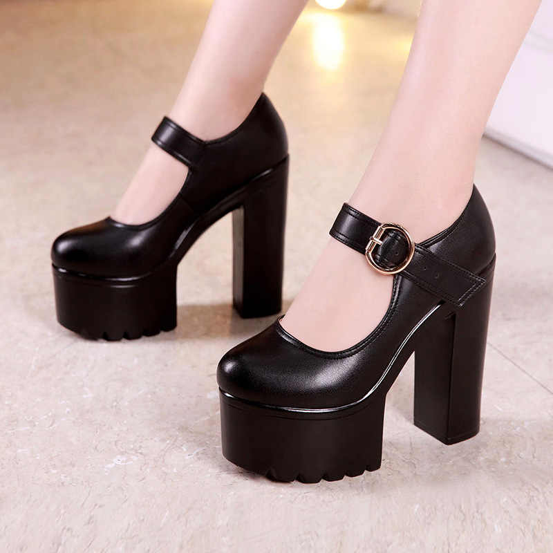 GKTINOO บล็อกรองเท้าส้นรองเท้ารองเท้าผู้หญิงรองเท้า 2020 ฤดูใบไม้ผลิฤดูใบไม้ร่วง 5.5 ซม./8 ซม./13 ซม.ส้นสูงปั๊มสุภาพสตรี Office รองเท้าหนัง