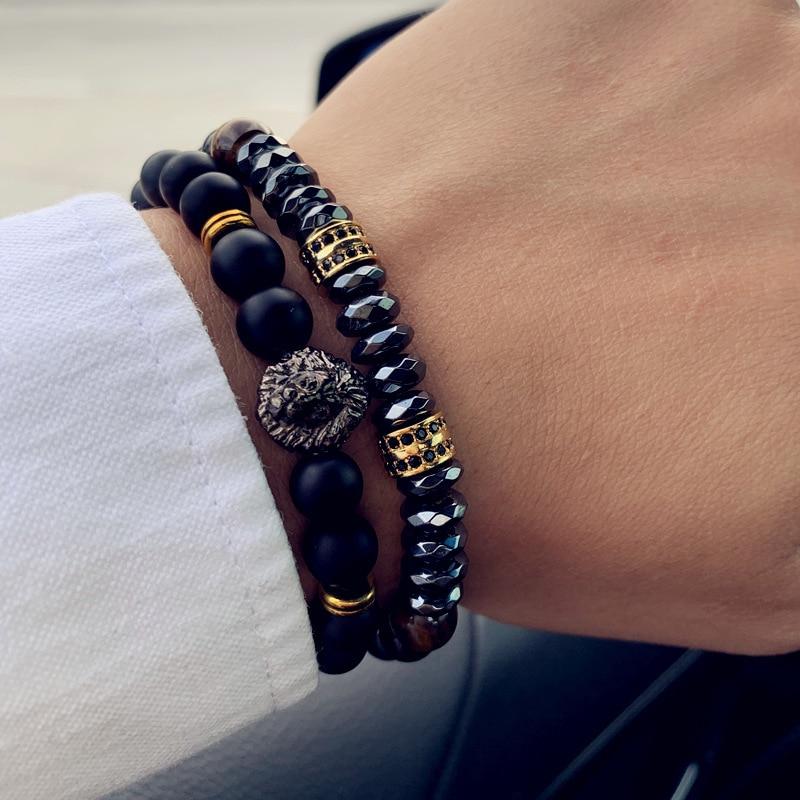 2 шт./компл., модный браслет с короной и львом, мужской классический матовый и Лава камень, набор, браслет для мужчин, Pave CZ, ювелирное изделие, подарок|Браслеты с шармами|   | АлиЭкспресс