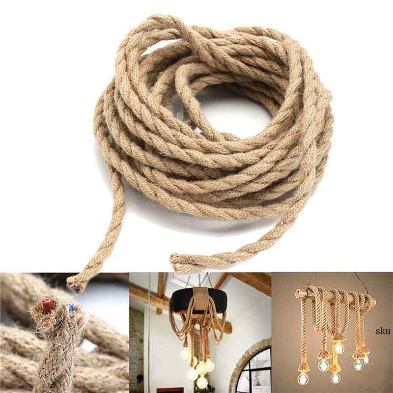 Nordic Hemp Rope Wire Antique Braided Twisted Lighting American Style Cable Hanging Living Rong Woven Silk Flexible Wire Cord