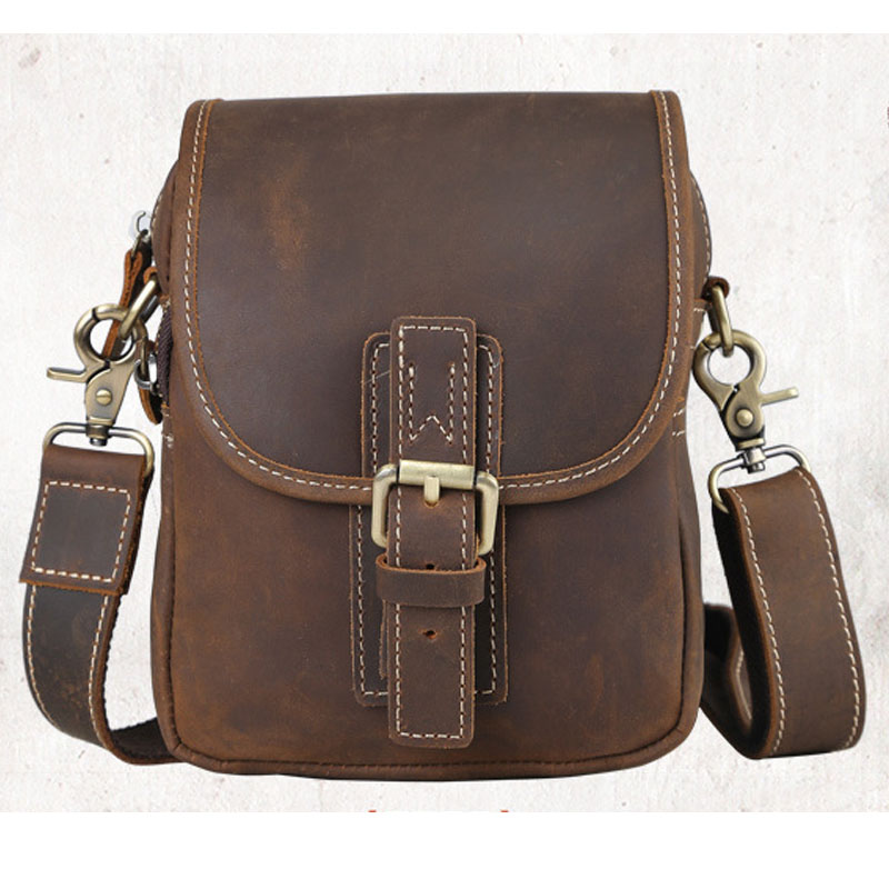 Lightweight Small Canvas Crossbody Bag Male Men Retro Messenger Bags Large Flap Shoulder Bag Casual Hand Bags in genuine leather
