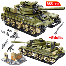 YT0035 683PCS Tank Series Soviet T-34 Tank Building Blocks Bricks Model  Military Figures Bricks Toys Gifts For Children Kids printio soviet tank