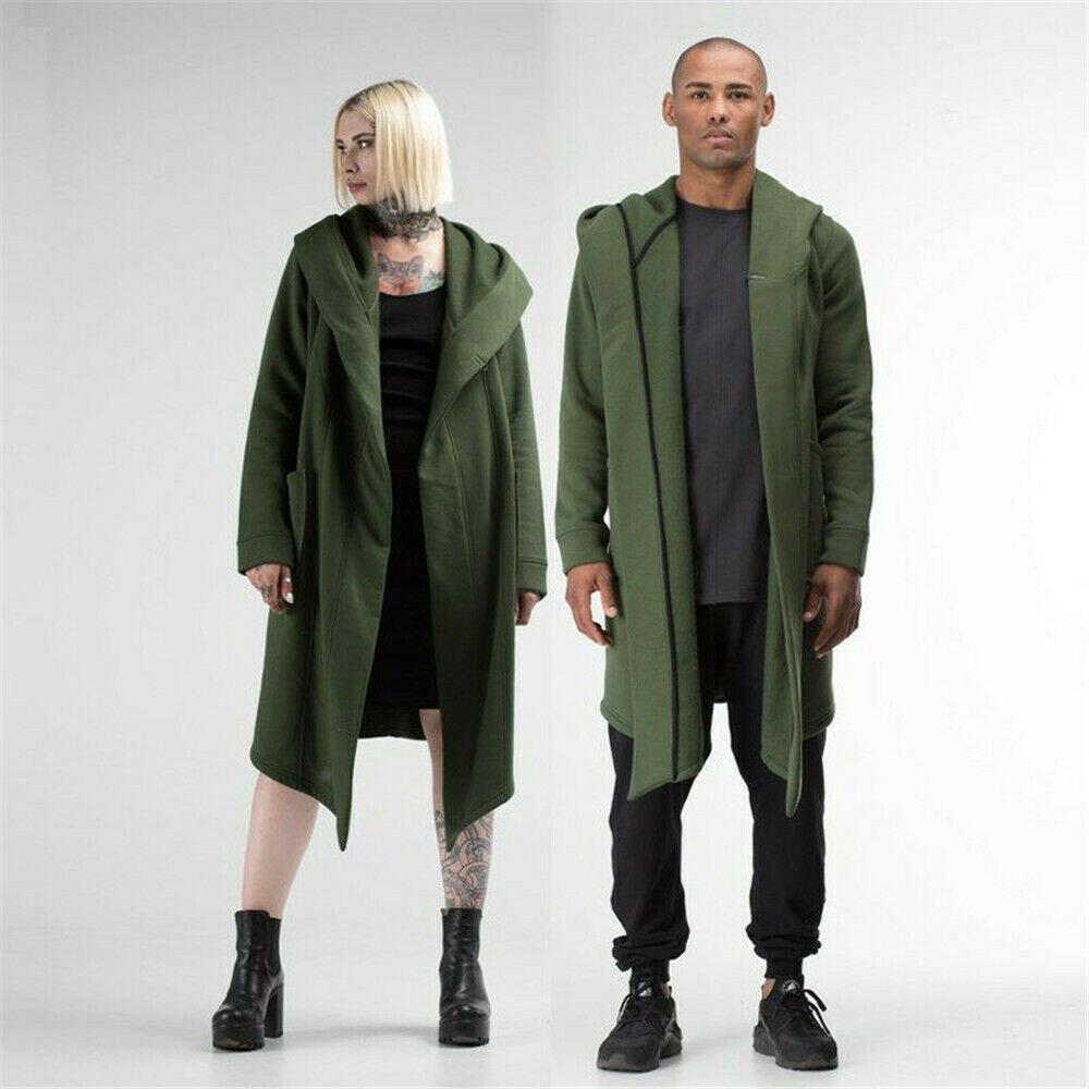 Unisex Men Women Cardigan Hooded Cloak Cape Coat Long Trench Outwear Overcoat 2019 Winter New Mens Solid Hooded Coat Black