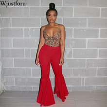 Wjustforu Fashion Elastic Flare Pants Women Summer Casual Be