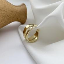 Корейское Ретро яркое металлическое двойное кольцо для женщин