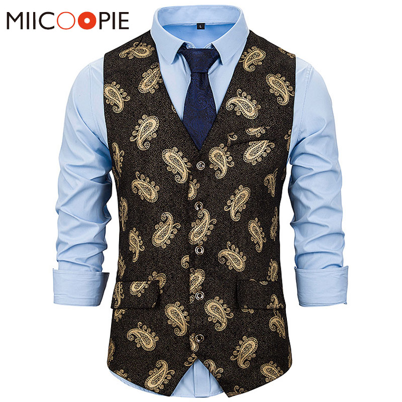 Bronzing Steampunk Suit Vest Men Floral Printed Slim Fit Sleeveless Chalecos Para Hombre Male Wedding Single Breasted Waistcoat