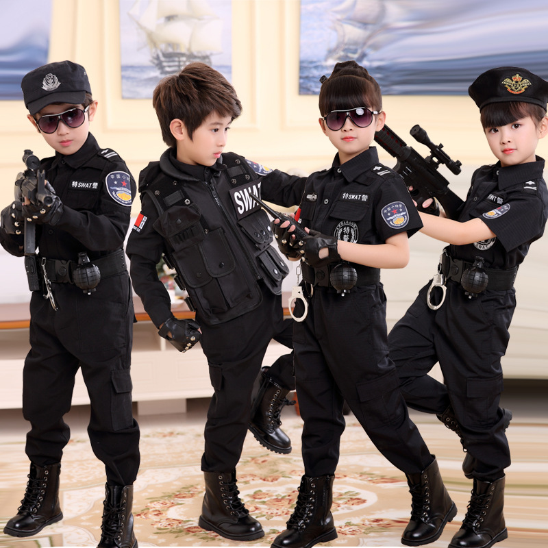 Children Police Uniform SWAT Clothes Kindergarten Dancing Dress Small Police Costume Traffic Police Officer Performance Costume