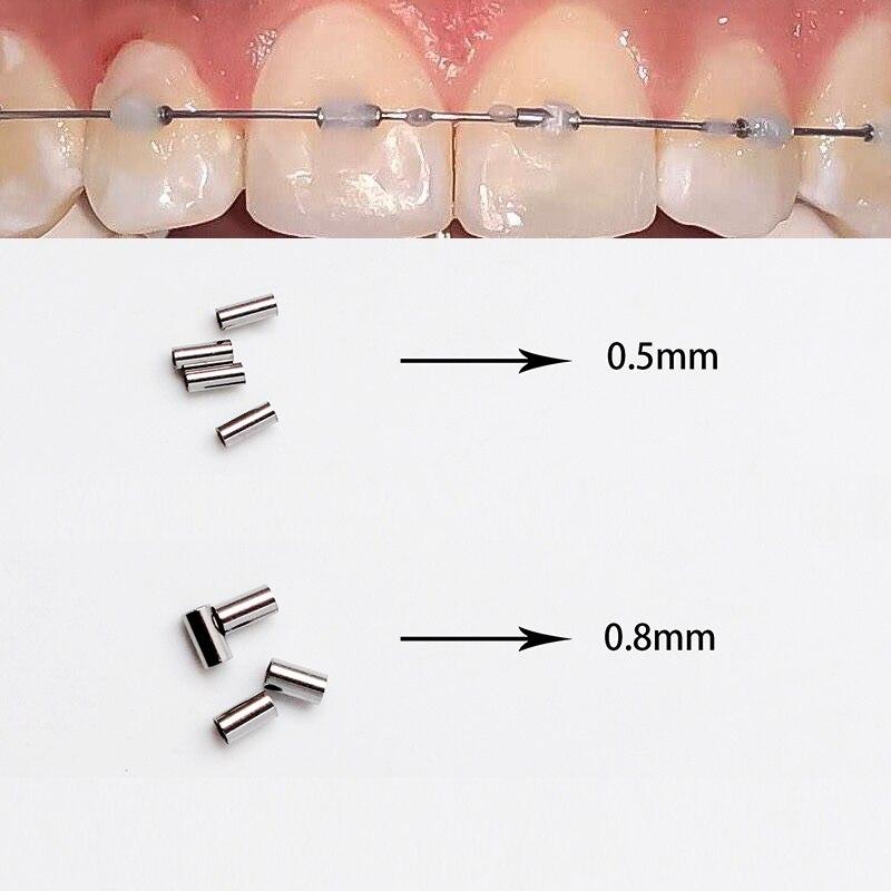 50pcs/pack Orthodontic mini crimpable stops 0.5mm 0.8mm on archwire Bracket Dental Orthodontic bracket orthodontic wires