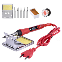 80W 220V LCD Display soldering iron EU/US PLUG Adjustable Temperature kits with tips welding Rework solder tools
